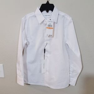 New Calvin Klein white slim button down shirt